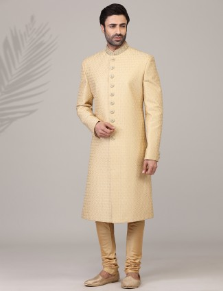 Eternal gold jacquard silk sherwani
