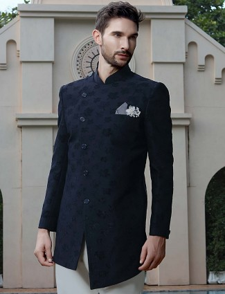 Ethnic look navy color wedding indo western
