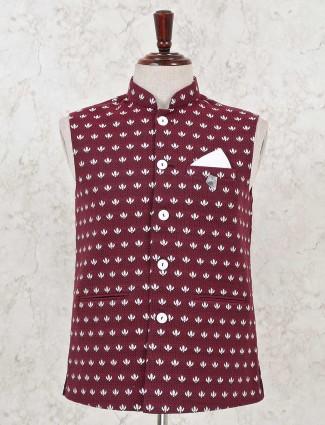 Ethnic wear maroon cotton jute waistcoat