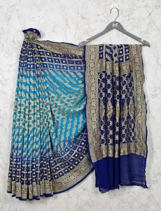 Exclusive Aqua Bandhej Saree for Wedding