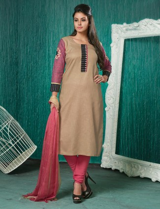 Exclusive beige hue cotton punjabi salwar suit
