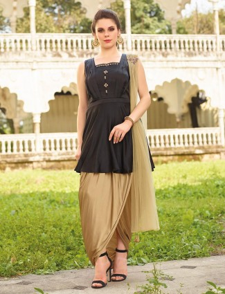 Exclusive black color silk fabric dhoti suit