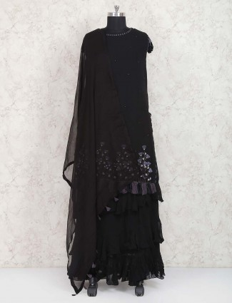Exclusive black double layer salwar suit in georgette