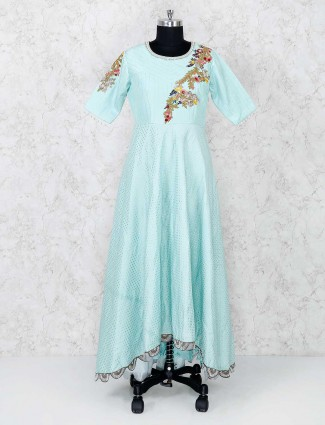 Exclusive aqua color cottton palazzo suit