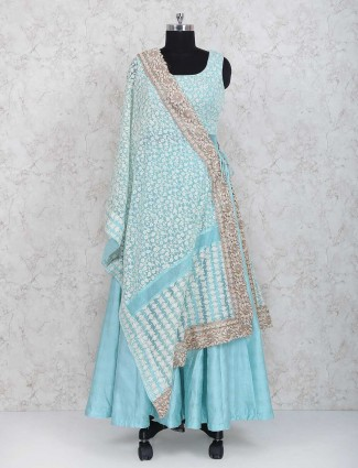 Exclusive blue raw silk anarkali suit