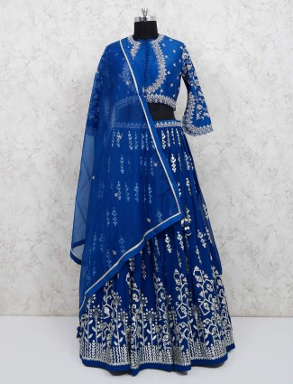 Exclusive blue silk lehenga choli ideal for wedding