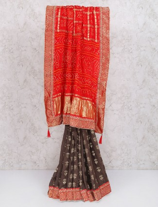 Exclusive brown color gajji silk saree