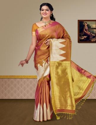 Exclusive brown pure silk fabric kanjivaram saree