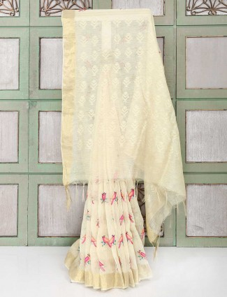 Exclusive cream color festive saree