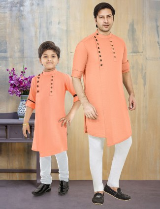 Exclusive father son matching kurta suit in peach color
