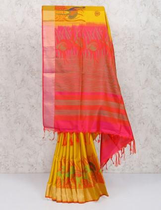 Exclusive golden color pure silk saree