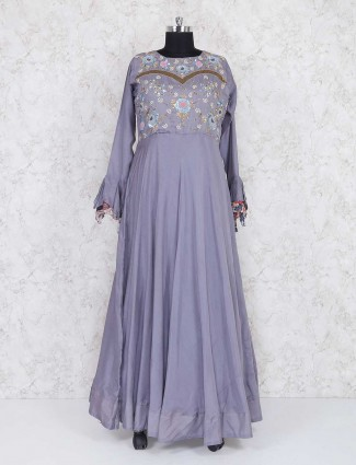 Exclusive grey color floor length anarkali suit