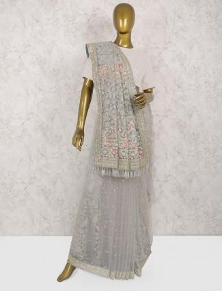 Exclusive grey hue net saree