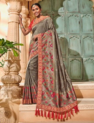 Exclusive grey semi silk saree