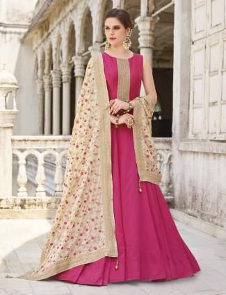 Exclusive magenta cotton silk anarkali suit