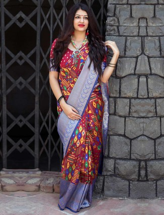 Exclusive maroon hue banarasi patola silk saree