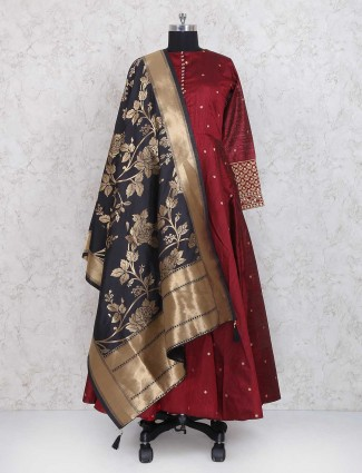 Exclusive maroon raw silk anarkali suit