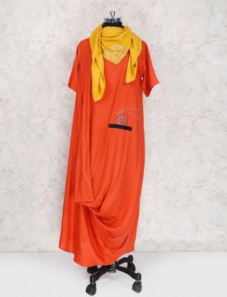 Exclusive orange hue kurti in cotton