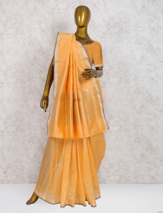 Exclusive orange pure silk saree