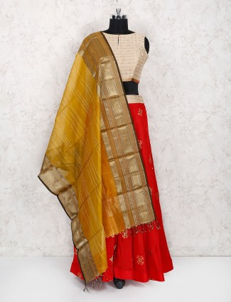 Exclusive red cotton silk festive lehenga choli