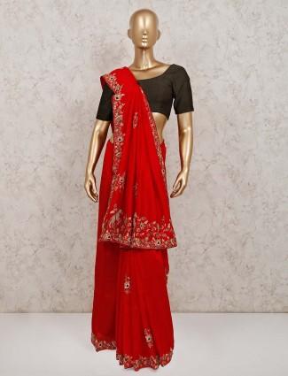 Exclusive red festive wear silk saree