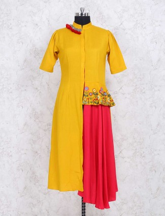 Exclusive yellow cotton fabric designer kurti
