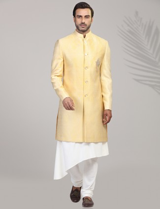 Exclusive yellow jacquard silk sherwani