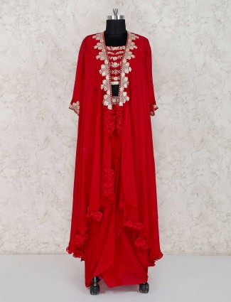 Excluysive red georgette party wear lehenga suit