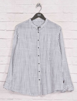Fancy stripe off white cotton shirt