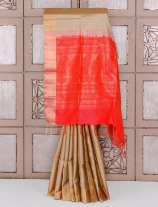 Festive brown color silk saree