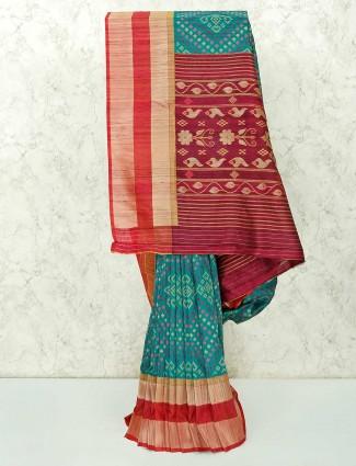 Festive function green semi silk saree