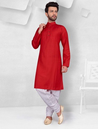 Festive function red cotton kurta suit