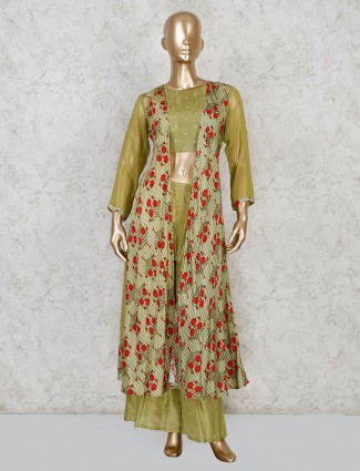 Festive green jacket style cotton silk palazzo suit