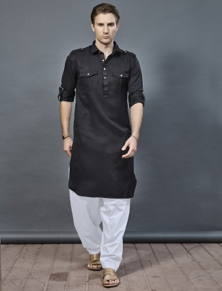Festive jet black color pathani suit