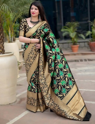 Festive occasion black color semi silk saree