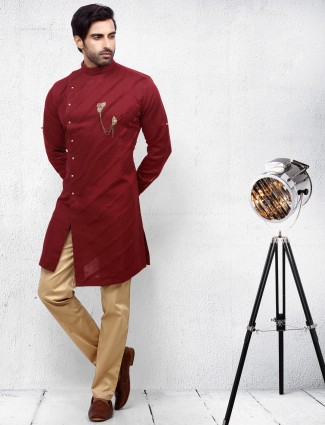 Festive occasion maroon color kurta suit