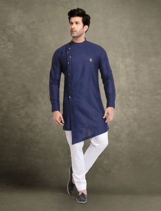 Festive occasion navy cotton jacquard kurta suit