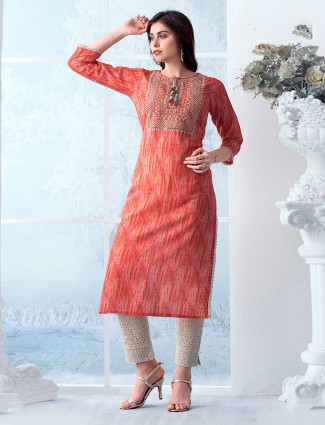 Festive peach printed Kurti in cotton