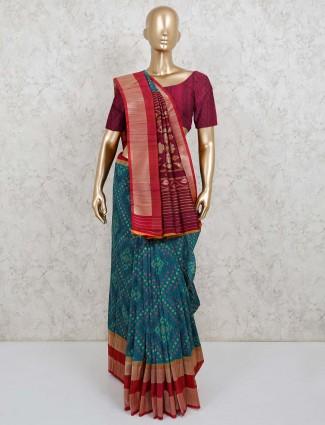Festive rama green semi silk saree