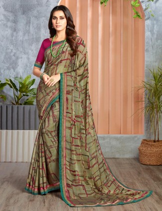 Festive saree in olive printed georgette