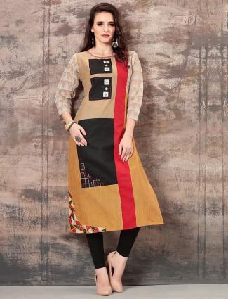Festive wear beige color cotton silk kurti