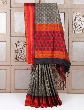 Festive wear Beige color silk fabric saree