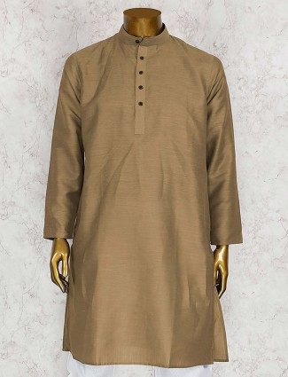Festive wear beige cotton silk kurta suit