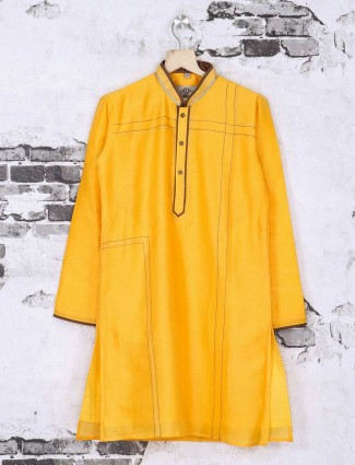 Festive wear bright yellow kurta suit