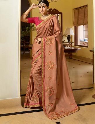 Festive wear brown color semi silk saree