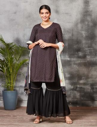 Festive wear brown hue banarasi silk sharara suit