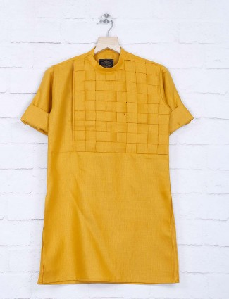 Festive wear checks mustard yellow kurta suit