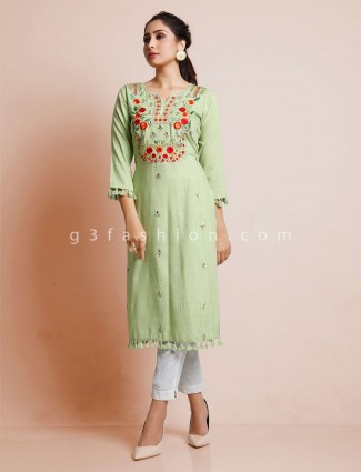 Festive wear cotton green only kurti