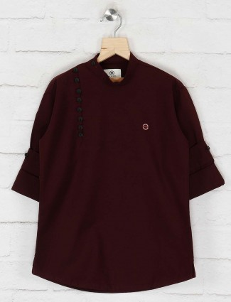Festive wear cotton maroon kurta