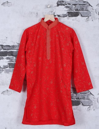 Festive wear cotton red kurta suit